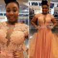 Sexy orange lace plus size vestidos de baile 2016 frisado apliques Manga Cap Chiffon Prom Vestidos Plus Size Vestidos Party Girls PL04