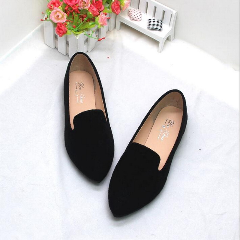 2019 Spring Summer New Ladies Flat Shoes Casual Women Shoes Comfortable Pointed Toe Flat Shoes Large Size Womens Loafers  568-2