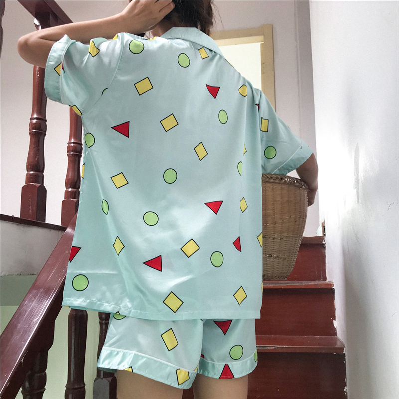 Alien Kitty Summer Female Home Clothing Cute Geometric Print Pajamas Short Sleeve Sashes Sleepwear Women Nightwear Shorts