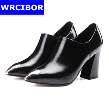 Women's shoes woman pumps Red bottom High heels big size 2017 womens Genuine leather pointed toe thick heel shoes women heels