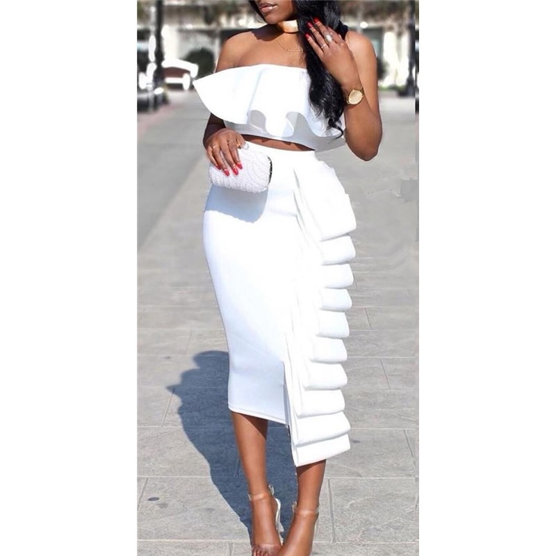 Women 2 Piece Sets Crop Tops Skirts Sets Strapless Sexy Dinner Ruffles Off Shoulder Slim Backless Summer Party Wear Suit