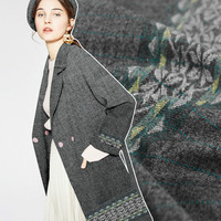 150cm Wide Gray Worsted Jacquard Wool Super Beauty Temperament Woolen Cloth Suit Clothing Fabric Quality Excellence
