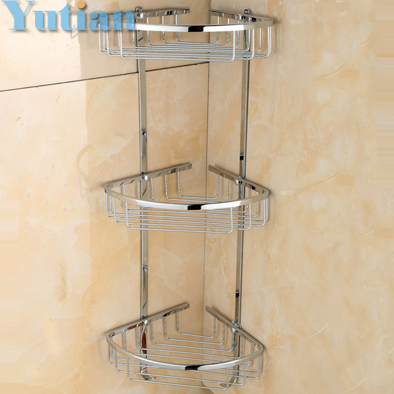 Free Shipping Wall Mounted chrome finish brass Bathroom Shower shampoo Shelf  Basket Holder Fashion Three Layers YT-7016 free shipping high quality bathroom toilet paper holder wall mounted polished chrome