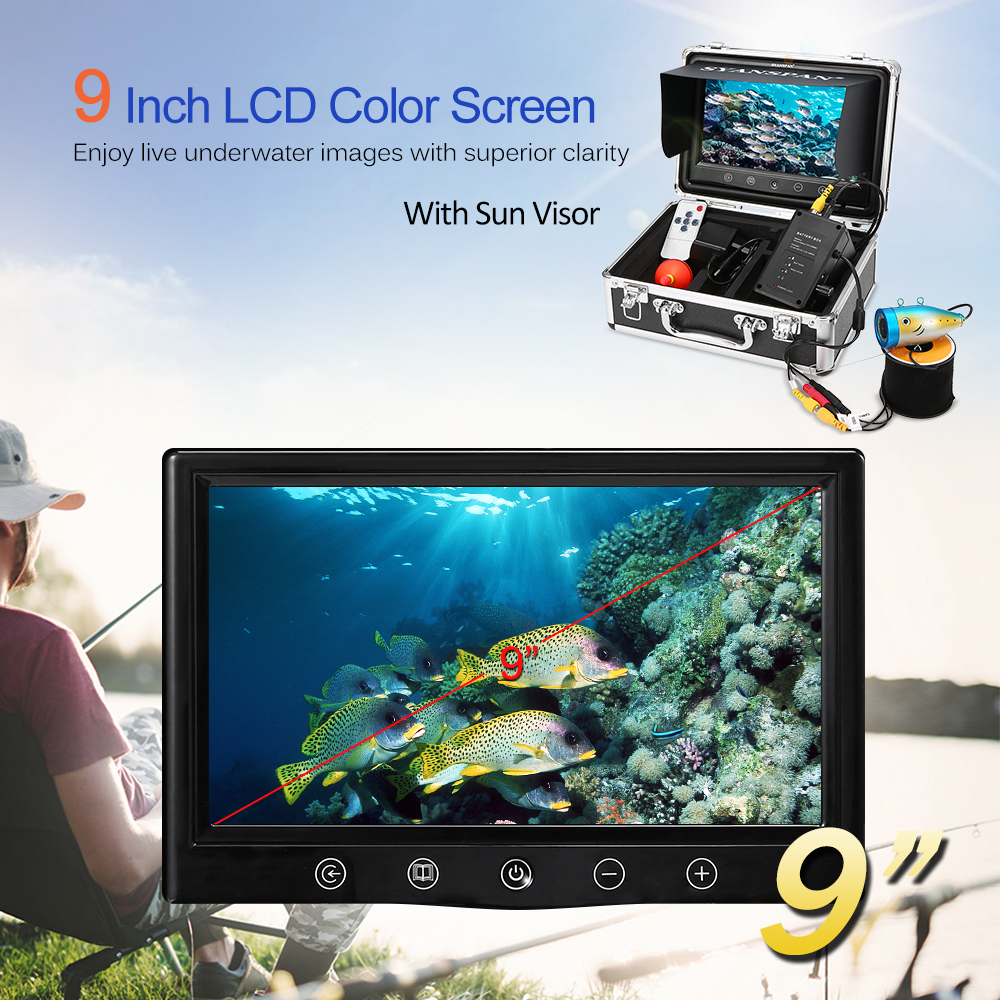 Portable Fish Finder 1000TVL Waterproof Underwater Ice Fishing Camera Kit 9 Inch LCD Monitor for Ice Lake Boat Deeper Fishing