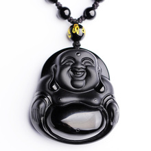 Natural Black A Obsidian Buddha Pendant Necklace Drop Shipping Maitreya MiLeFo For Women Men Fine Crystal Jewelry Gift все цены