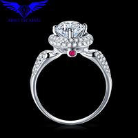 14K WHITE GOLD 1 0CT TEST POSITIVE ROUND MOISSANITE LAB GROWN DIAMOND RING