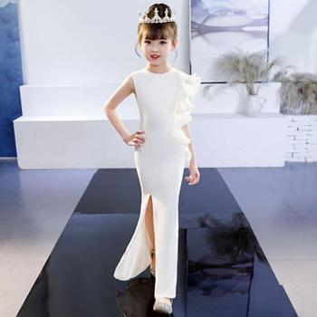 High-end Customize Princess Girls Mermaid Dress Children Pageant Catwalk Party Ruffles White Evening Dress Modis Vestidos Y1535