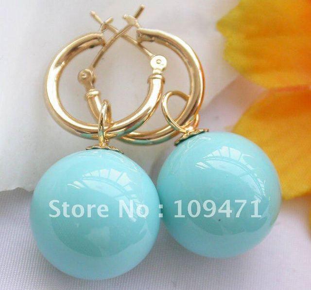 16 mm azul del mar del sur shell pendientes de perlas