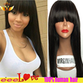 Brazilian Straight Lace Front Human Hair Wig With Bangs Unprocessed Lace Front Wig Glueless Full Lace Human Hair Wigs Baby Hair