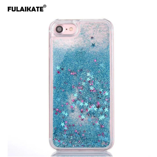 low priced 11011 f8c63 US $3.66 20% OFF|FULAIKATE Quicksand Star Dynamic Liquid Case For iphone 7  Glitter Back Case Cover for iPhone 8 4.7