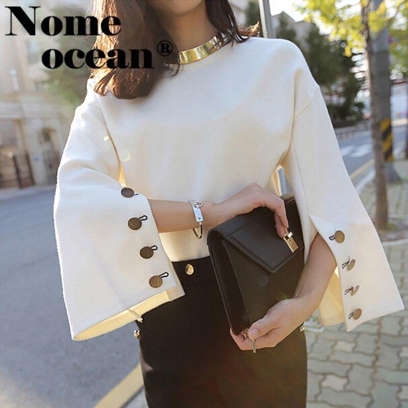 Pullover Women Sweaters Tops Flare-Sleeve Split-Button Korean Fashion Lady M18042501