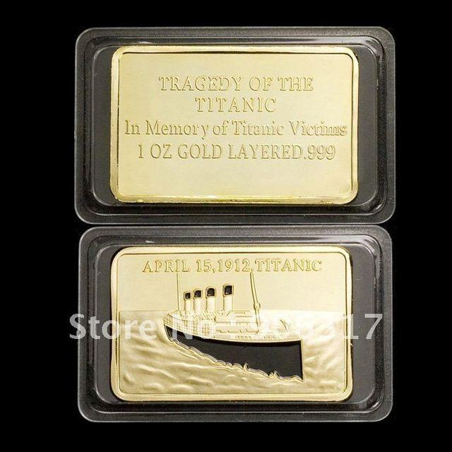 1 OZ .999 Gold-Plated Titanic Bullion Bar, Memory of tragedy and white star line 1PCS/LOT