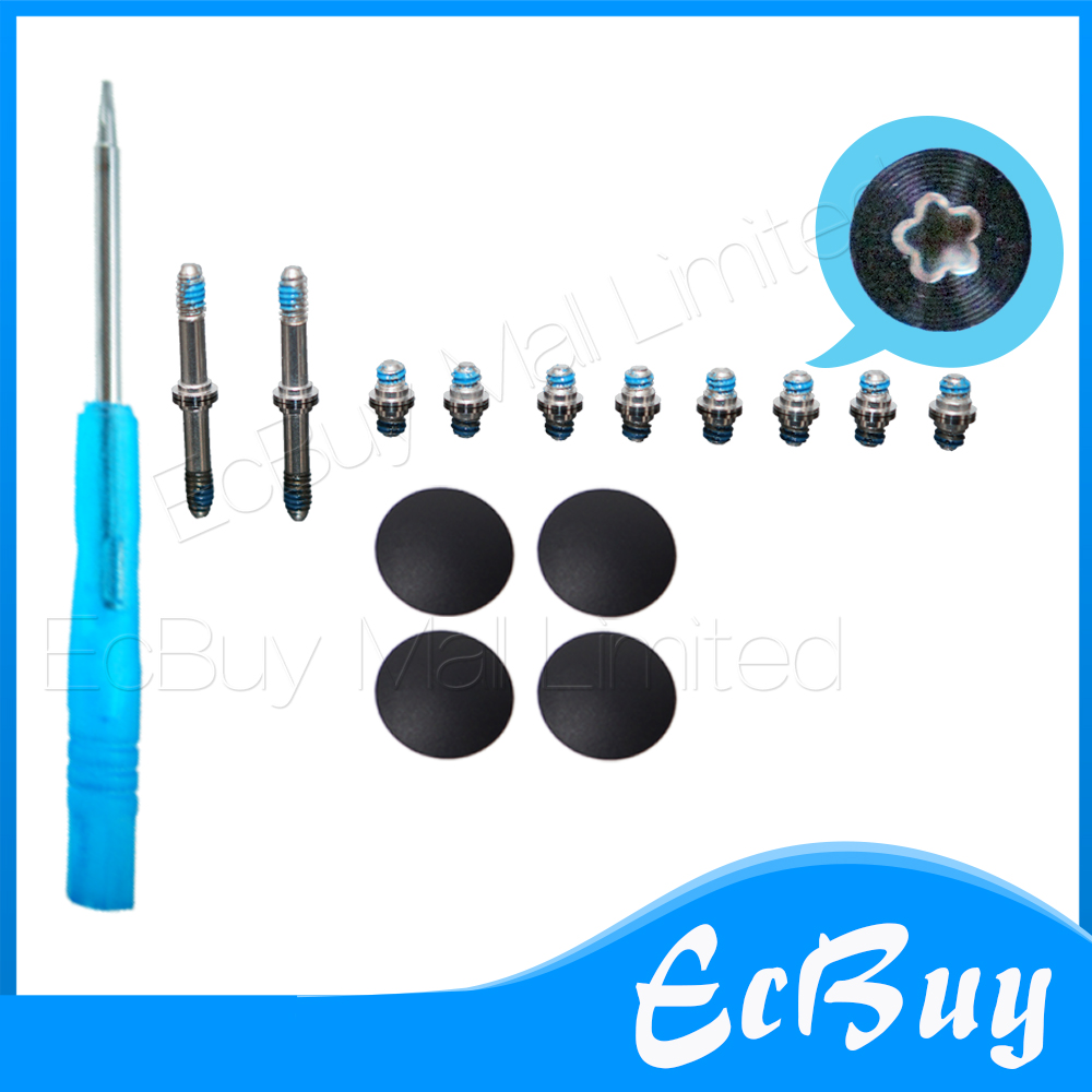 New 4pcs Plastic (No Rubber) Bottom Case Cover Feet Foot Kit+Screw Set+Tool for Macbook Air 13