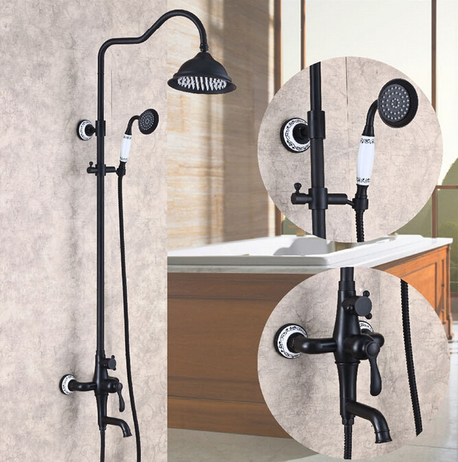 Oil Rubbed Bronze Rainfall Shower font b Faucet b font System Mixer Tap with Hand Spray