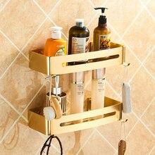 Золото Ванная комната полки прямоугольник душ Caddy пространство Алюминий полка с двумя крючками настенный 1/2/3 уровня хранения самоклеющиеся