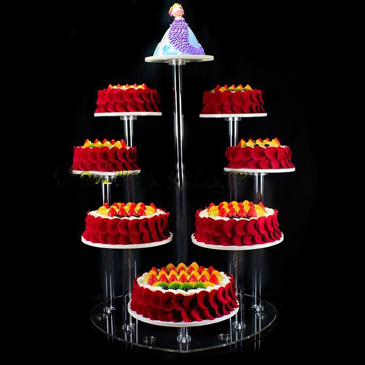 8 ярусов кристалл акриловые круглые торт Круглый Стенд торт Дисплей Рождество Свадьба День рождения Craft Свадебные украшения
