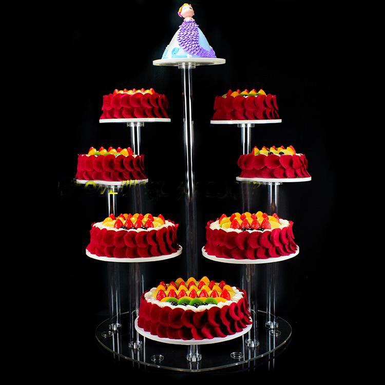 8 livelli Di Cristallo Rotondo Acrilico Del Basamento della torta torta Rotonda Display Di Natale Matrimonio Compleanno Mestieri Decorazione di Cerimonia Nuziale