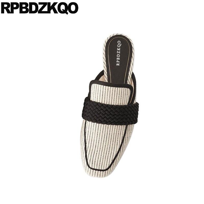De Damas Las Beige Pie Pantuflas Blanco Diseñador Casuales Chino China En Slip Tamaño Pisos Del Mulas Dedo Zapatos Mujeres Cuadrado Gran 2018 fvWqd0w