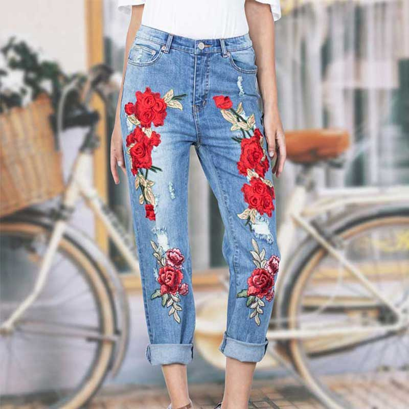Women Fashion Rose Flower Embroidered   Jeans   Light Blue Loose Ripped Denim Trousers XXL Oversize straight   Jeans   Pants Female
