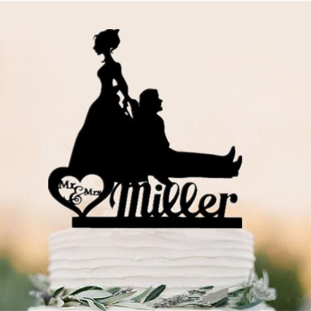 Funny Bride Groom Mr And Mrs Wedding Cake Topper Personalized Name Custom
