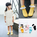 10 pairs/lot Pure Cotton Short Socks Kid Meias Creative Lace Trim Design Double Knitted C357