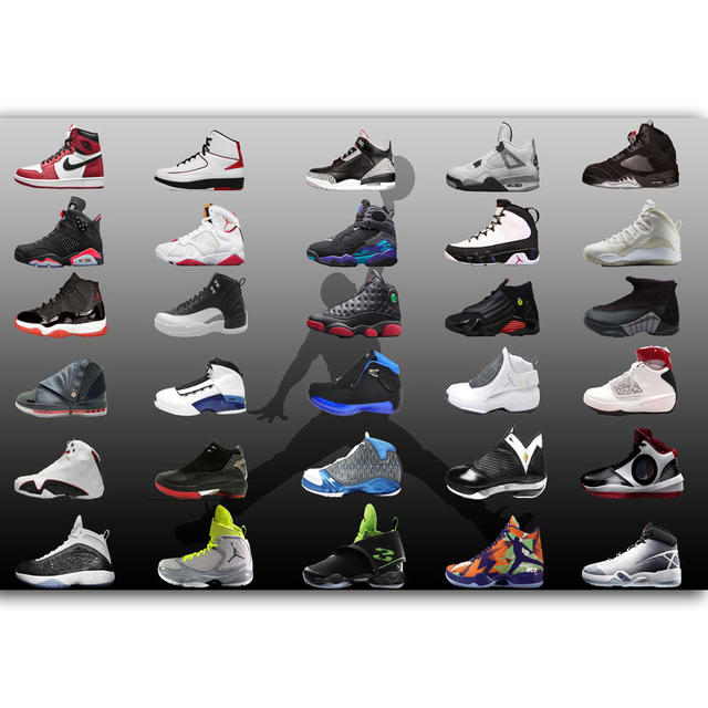 G308 Michael Jordan Shoes Sneaker Collage MJ 23 A4 Art Poster Silk Light Canvas Painting Print