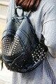 Mulheres Rebite Mochila Preta Suave Lavado Mochila Do Punk Saco de Ombro das Mulheres de Couro Estilo Preppy Mochila Grils Diária Sacos de Viagem