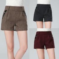 Mode Shorts Vrouwen Winter 2017 Herfst Nieuwe Slim Casual Solid Hoge Taille Dikke Warme Pocket Wol Shorts Womens