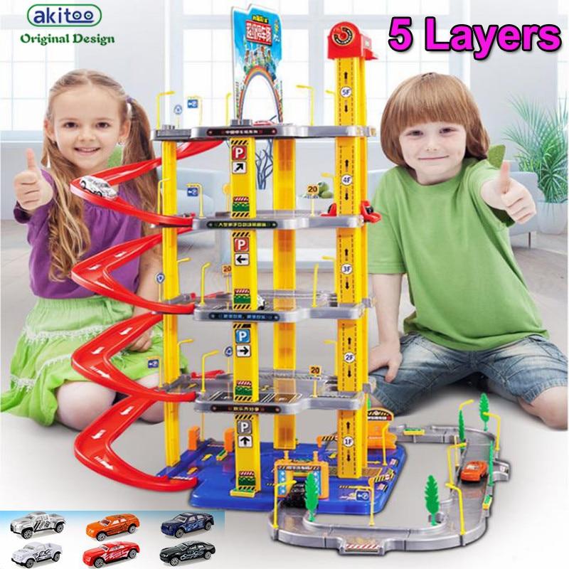 akitoo 1049 hot Large children s alloy track car parking toy set boy model scene toys