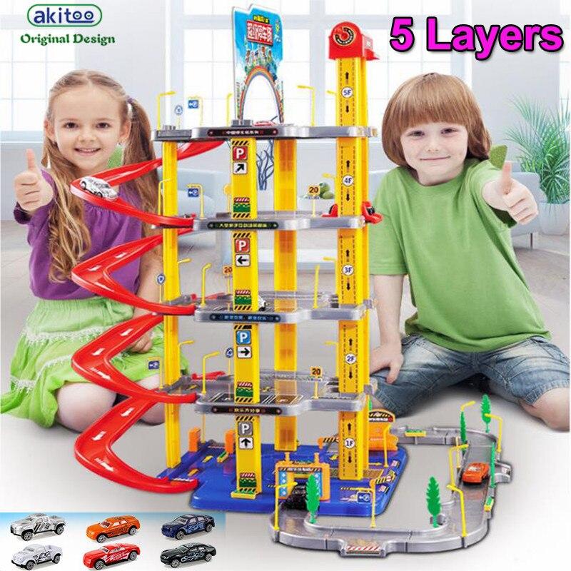 Akitoo 1049 hot gros enfants alliage piste voiture parking jouet ensemble garçon modèle scène jouets 3/4/5 couches éducation précoce jouets cadeau