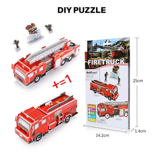 DIY 3D Puzzle Paper Model Art Project Assemble for kids Fun&Educational Toy Craft, ambulance fire truck  airplane traffic series