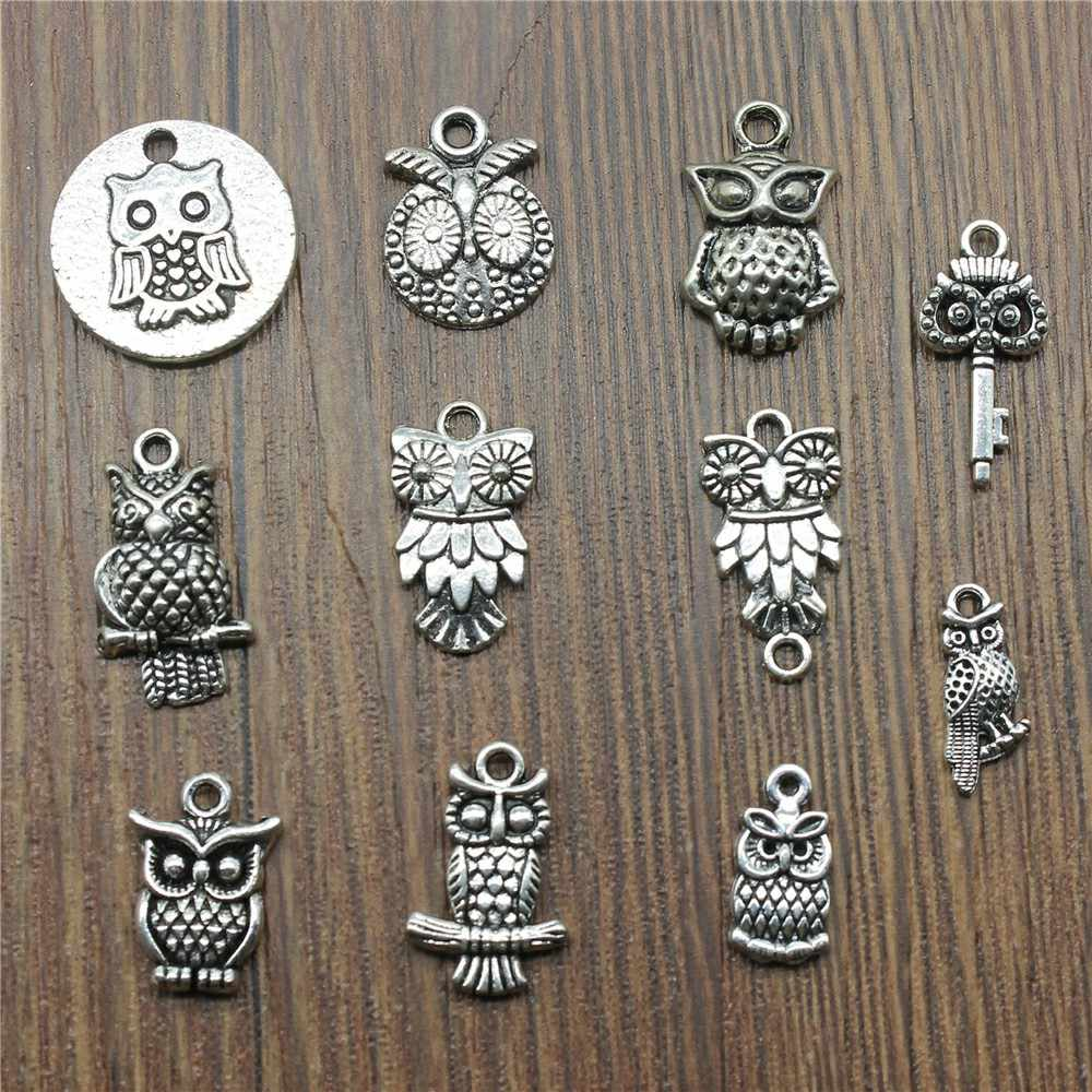 3 Piece Mix Owl Charm Making Jewelry Pendants For Bracelets Small Owl Charm Antique Silver Color Owl Charm