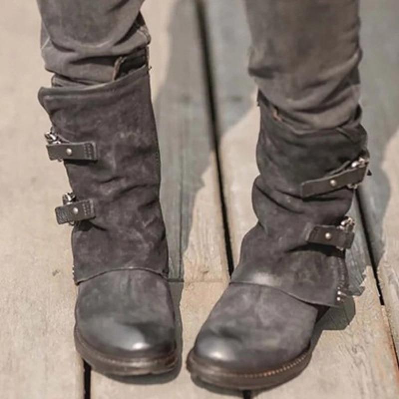 Mujer Boucle Dames Talons coffee Plate Bottes Chaussures forme Pour Pu Sangle Cuir Martin Botas Automne Bas Femmes Black Cheville Hiver 0TqRHPzPw