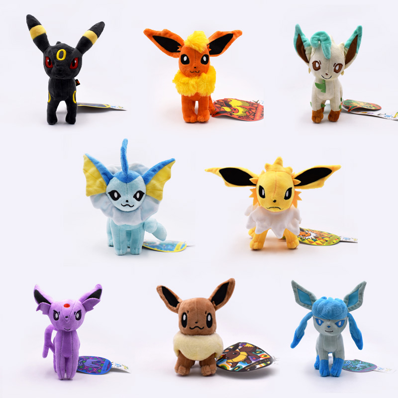 New Cartoon Plush Toys 8pcs lot Standing Umbreon Eevee Espeon Jolteon Vaporeon Flareon Glaceon Leafeon Soft