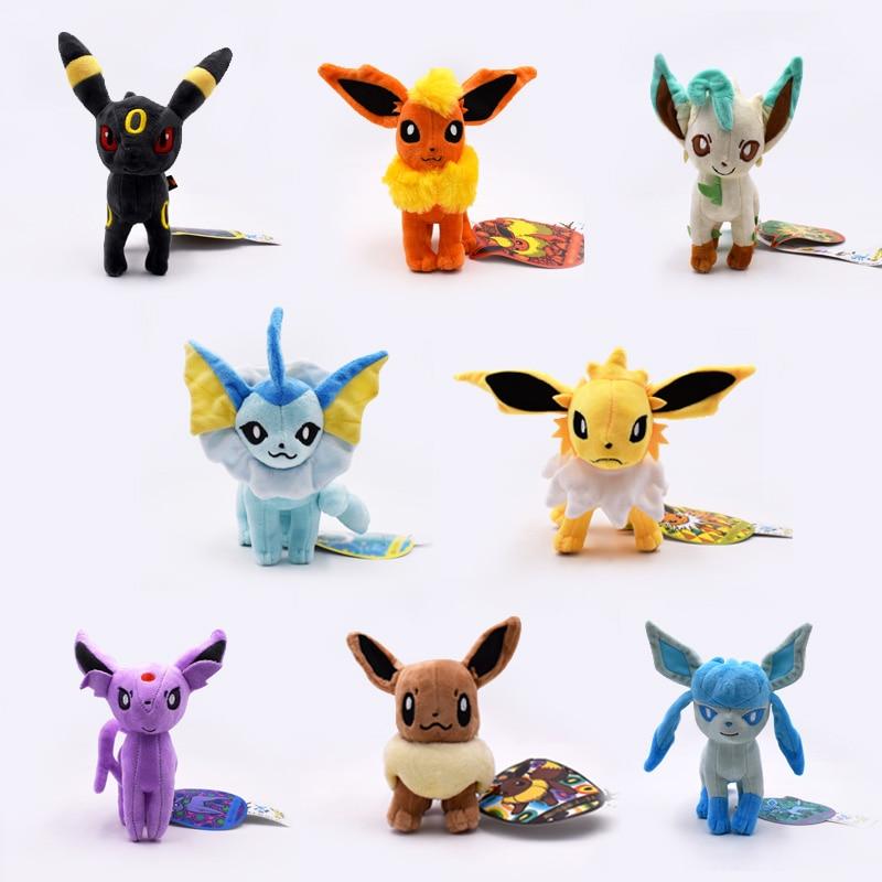 New Cartoon Plush Toys 8pcs/lot Standing Umbreon Eevee Espeon Jolteon Vaporeon Flareon Glaceon Leafeon Soft Stuffed Plush Toys