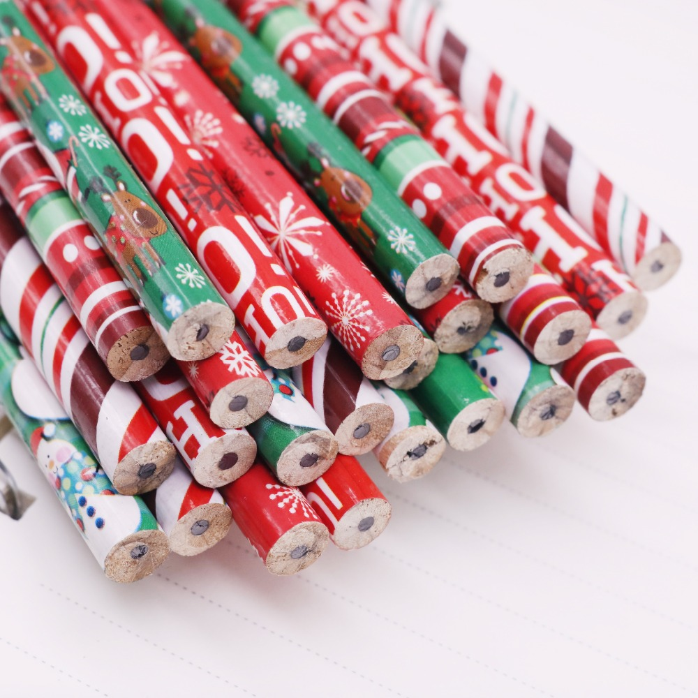 200 pcs Christmas pattern Pencil With eraser HB Black refill pencil Pen length 188mm Diameter 8mm Student sationery Holiday Gift