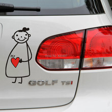 Newest Design Funny Car Sticker Pregnant Girl Mama in Car Decal for Toyota Chevrolet Volkswagen Tesla Honda Hyundai Kia Lada(China)