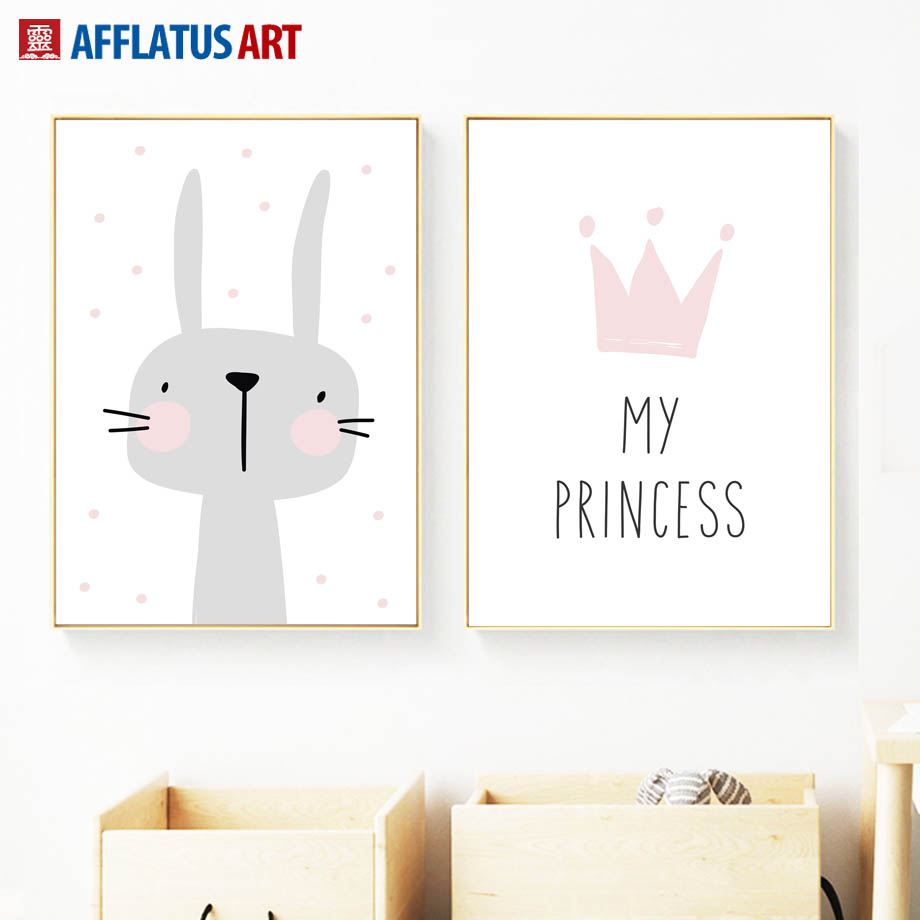 Cartoon Gray Rabbit Crown Quotes Nordic Posters And Prints Wall Art Canvas Painting Animal Wall Pictures Kids Room Bedroom Decor in Painting Calligraphy from Home Garden