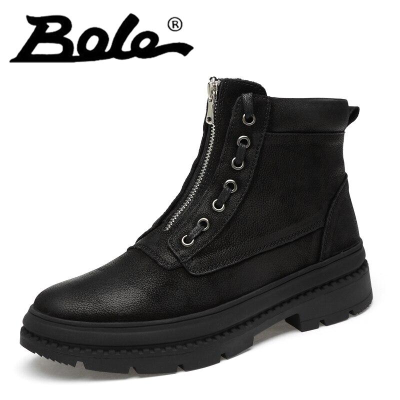 Alta Zipper Top Resistente Curto 47 Sapatos Redondo Preto Couro Caminhada De Do Size38 Pé Genuíno Dedo Plush Grande Homens Botas Inverno fur 8AaqFp