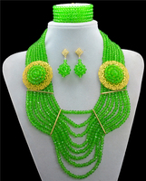 Fashion 2016 New Arrival Crystal Green Costume Necklaces Nigerian Wedding African Beads Jewelry Set 10024 2