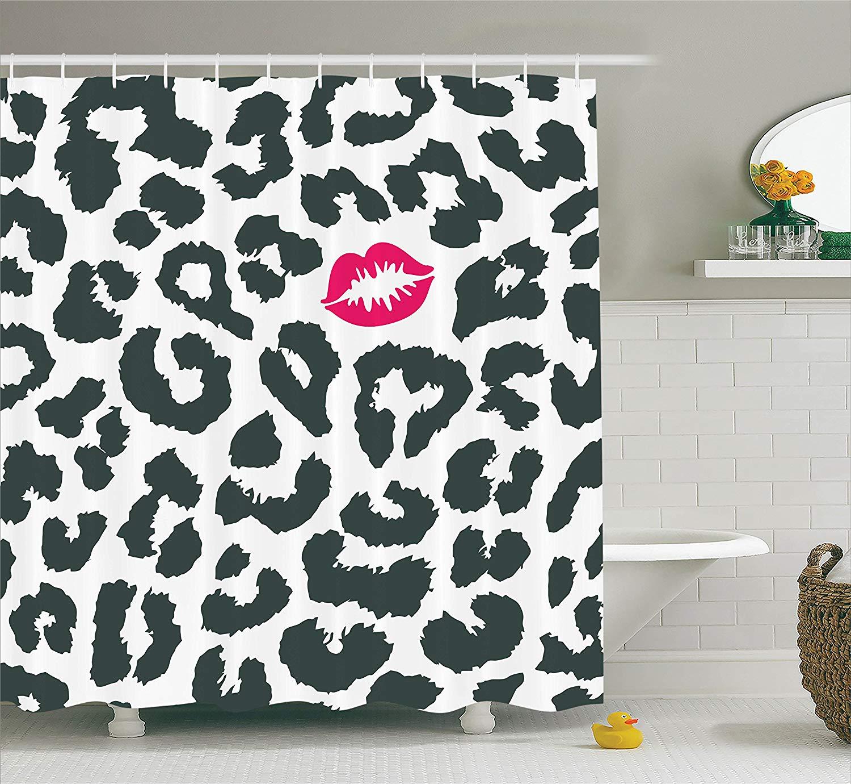 Us 1165 49 Offsafari Shower Curtain Leopard Cheetah Animal Print With Kiss Shape Lipstick Mark Dotted Trend Art Fabric Bathroom Decor In Shower