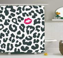 Safari Shower Curtain Leopard Cheetah Animal Print with Kiss Shape Lipstick Mark Dotted Trend Art Fabric Bathroom Decor(China)