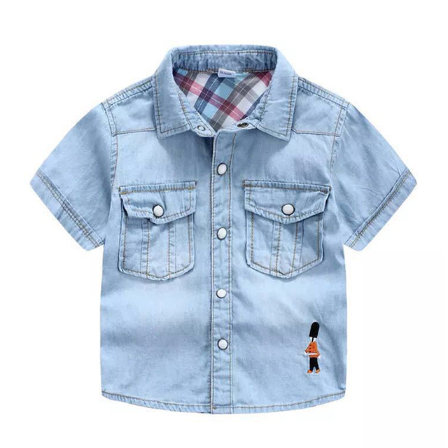 1f7971094 Boys Denim Shirt Short Sleeve Pocket Blouses With Embroidery Soldier For Boy  Summer Boy Shirts Soft Children's Jeans Shirt 3-10Y