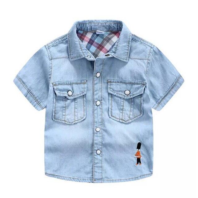 Camisa de manga corta de mezclilla blusas de bolsillo con bordado de  soldado para niño camisas b2b08ee2bc315
