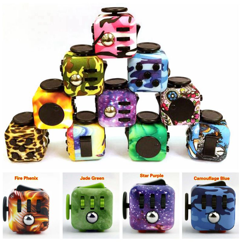 Original Spinner Fidget Toy Fidget Cube Camouflage Blue Relieves Anxiety and Stress Squeeze Fun Magic Cube