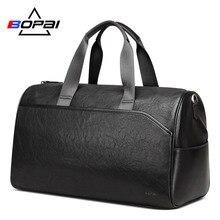 Купить с кэшбэком BOPAI Men Leather Travel Bags Hand Luggage Women Leather Duffle Bags Male Business Travel Weekend Bag Unisex Large Duffel Bags