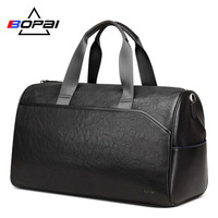 BOPAI Men Leather Travel Bags Hand Luggage Women Leather Duffle Bags Male Business Travel Weekend Bag Unisex Large Duffel Bags
