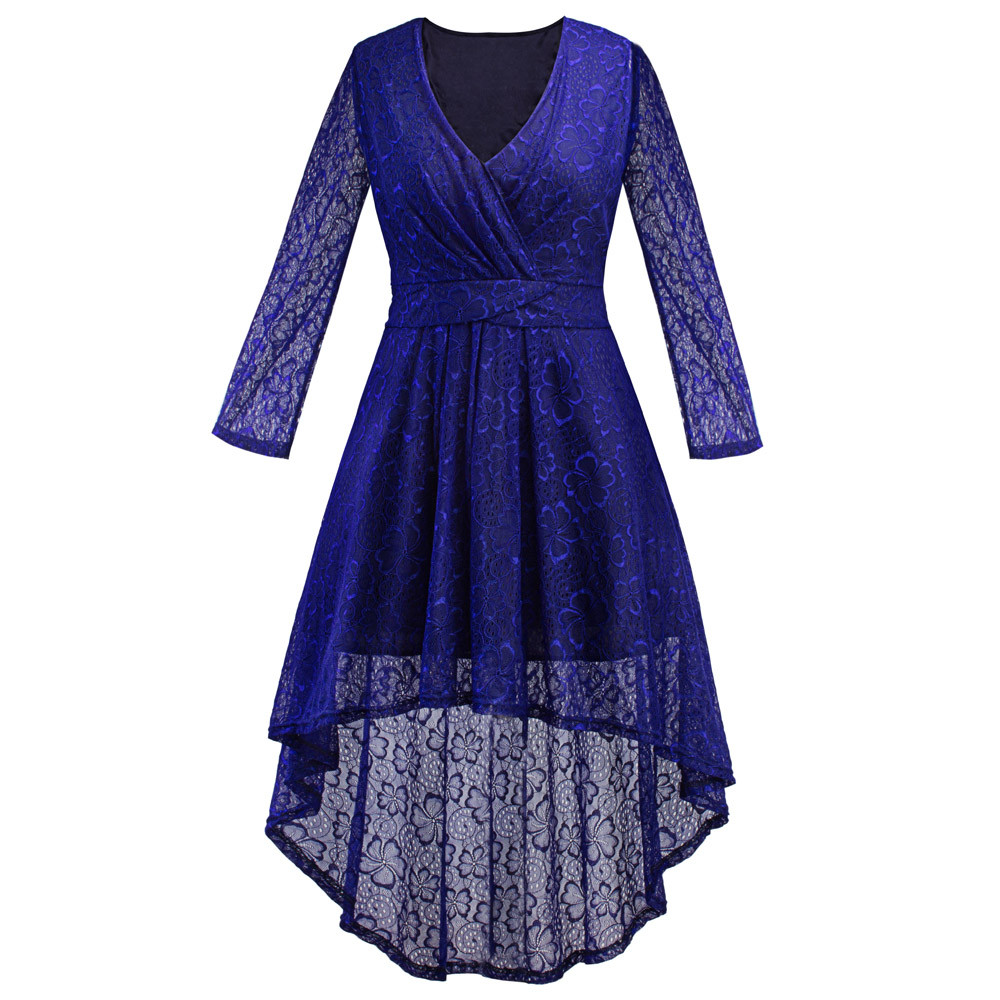 2017 Creative Design Women Long Sleeve Evening Party Dress Ladies Lace Prom Gown Sexy Dresses Plus Size Women Clothing Vestidos