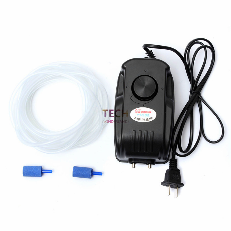 4.5W SUNSUN YT-502 Oxygen Aquarium Tank Fish Aerator Multi Speed Air Pump 2 Outlets Black Color With 2 Air Stone And 2M Pipe