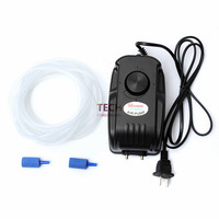 4.5W SUNSUN YT 502 Oxygen Aquarium Tank Fish Aerator Multi Speed Air Pump 2 Outlets Black Color With 2 Air Stone And 2M Pipe